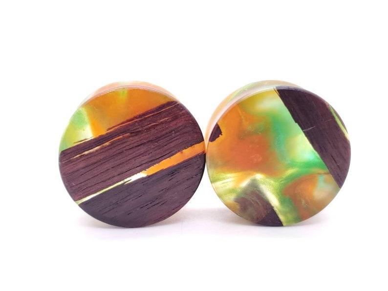 Handmade Epoxy Resin and Katalox Wood Double Flare Plugs Gauges Earrings jewelry 28mm 1 316