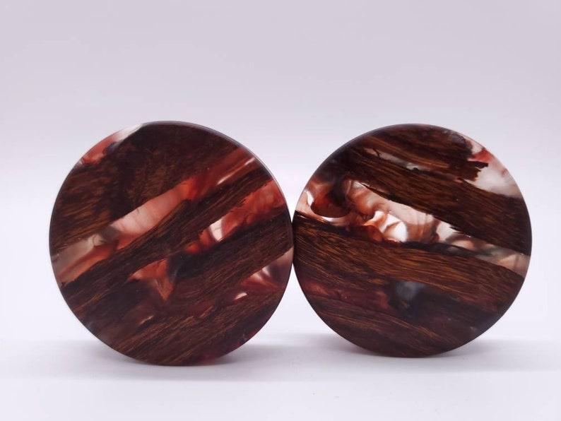 Handmade Epoxy Resin and Desert Ironwood Double Flare Plugs Gauges Earrings Jewelry 1 78 48mm