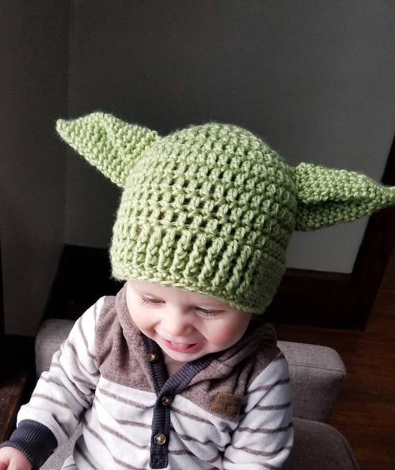 Hand made Crochet Baby Yoda Hat Beanie Newborn Boy mandalorian yoda