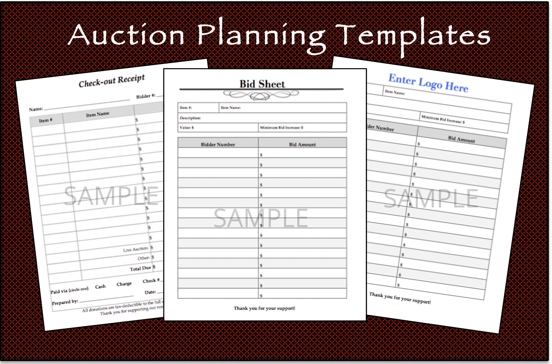 Printable Silent Auction Bid Sheet & Check-out Receipt Bundle In Auction Bid Cards Template