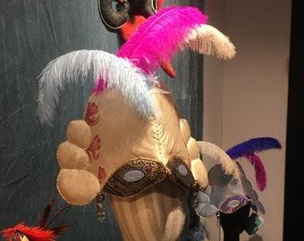 BEVILACQUA CROWN Carnival Party Wedding Festival Harlequin Goddess Crown Headdress hand-made in silk vintage Murano beads