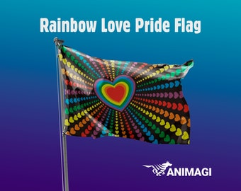 Rainbow Love Pride Flag [5'x3' // 1.5mx0.9m] - 100% Polyester / 2 Metal Eyelets for Hanging