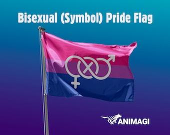 Bisexual (Symbol) Pride Flag [5'x3' // 1.5mx0.9m] - 100% Polyester / 2 Metal Eyelets for Hanging