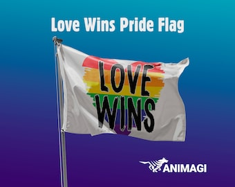 Love Wins Pride Flag [5'x3' // 1.5mx0.9m] - 100% Polyester / 2 Metal Eyelets for Hanging