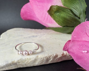 Ivory Pink Pearl Ring Sterling Silver Handmad Valentines Day Gift Dainty Pearl ring Mothers Day Gift Ellis Jewellery Pearl Jewellery