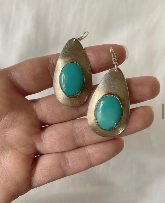 Vintage WS Navajo Sterling Drop Earrings