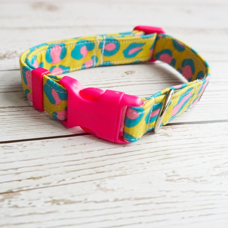 funky animal print collar yellow dog collar Leopard dog collar textile dog collar cool dog collar pink Leo fun textile collars