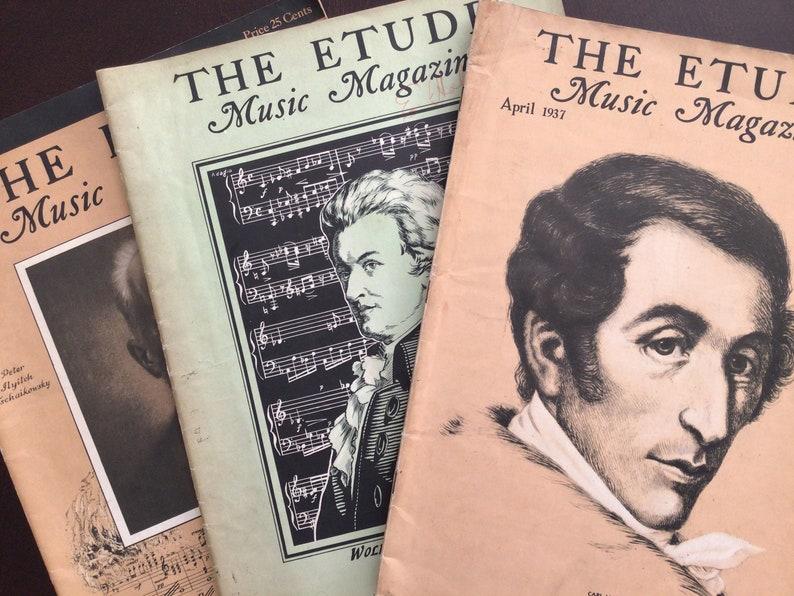 Antique The Etude Music Magazines 3 Sheet Music Mozart image 0