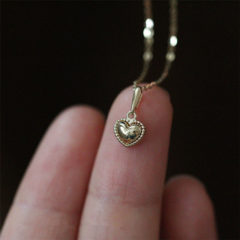 Gold Heart Bead Necklace Gold Necklace Chain Necklace Gold Necklace Minimalist Necklace Delicate Gold Necklace