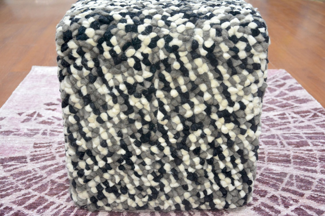 Handmade Pouf/Ottoman - Footstool,Comfortable Chair or Footrest - White Black | BKR1604