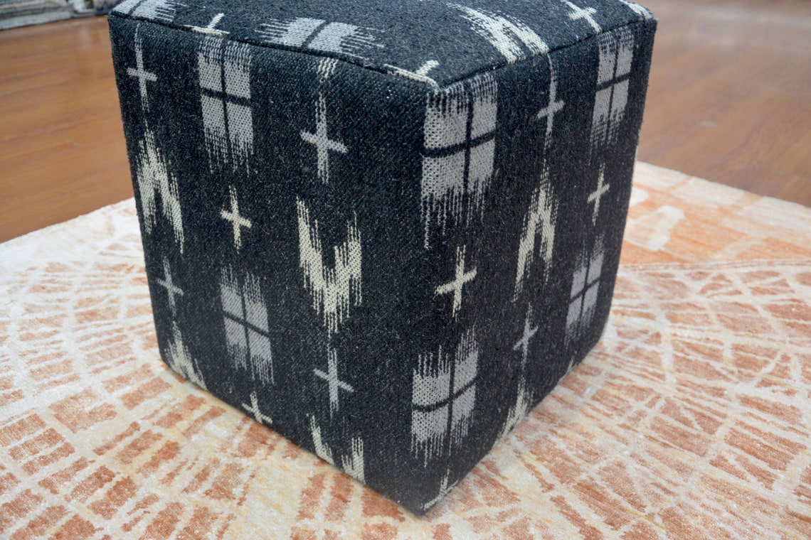 Handmade Pouf/Ottoman - Footstool,Comfortable Chair or Footrest - Black White | BKR1655