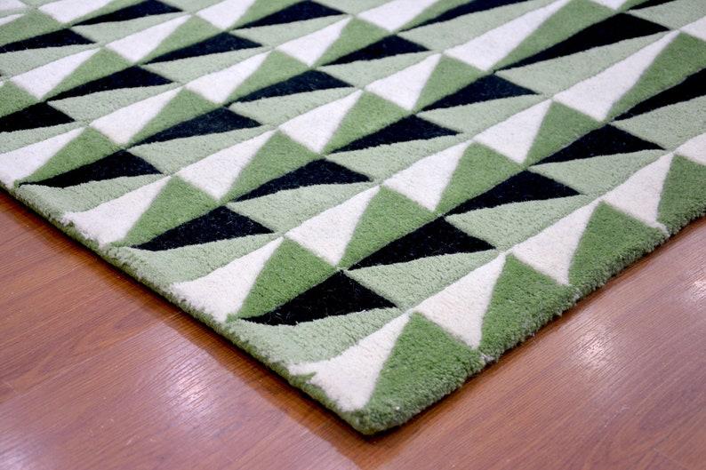 0369 4/'6 x 6/'6 Rug BLACK KNIGHT RUGS Modern Rug Hand Tufted White Green Black  Wool Area Rug