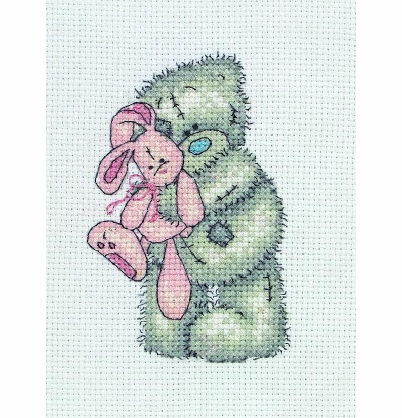 Teddy Bear Cross Stitch Kit Counted Cross Stitch Kit Fiends Embroidery Pattern Teddy Cross Stitch /'Pink Rabbit/'