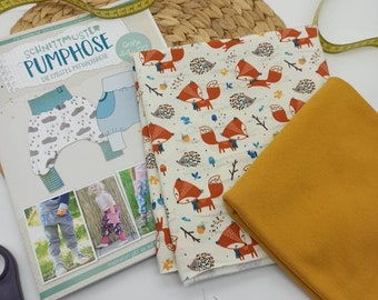 Sewing set fabric package + paper cut pattern pump pants jersey size 44-122 - co-wax pants for babies