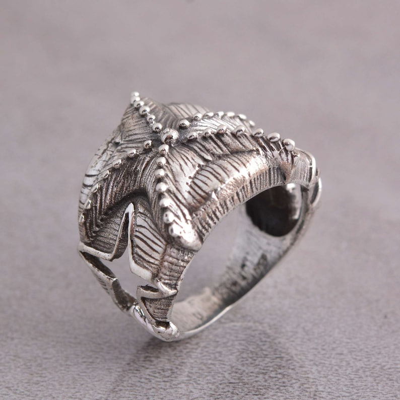 Gifting Ring Free Shipping Unisex Handmade silver jewelry-Vintage Ring Silver Accessory ANTIQUE 925 STERLING SILVER Starfish Ring