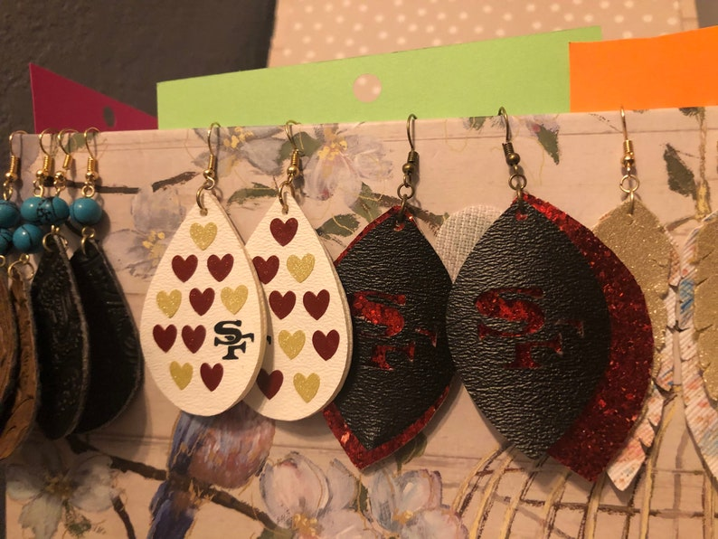 San Francisco 49ers Faux Leather Earring