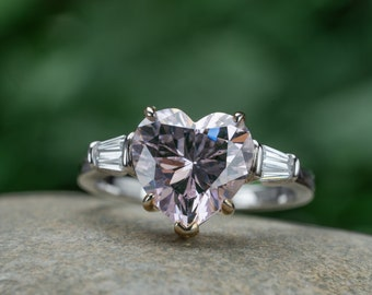 Heart Cut 10*10mm Pink Sapphire Engagemeng Rings Gift for Her Anniversary Ring