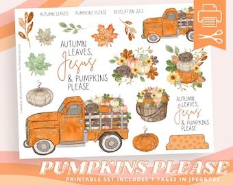 Autumn Leaves Jesus & Pumpkins Please, Fall, Autumn Printable Sticker Sheet for Bible Journaling - Faith Planner - Mixed Media