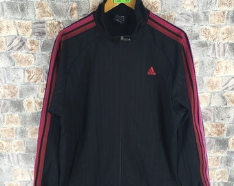 Vintage Adidas Trainingsjacke Damen Gr. XL44 90er schwarz