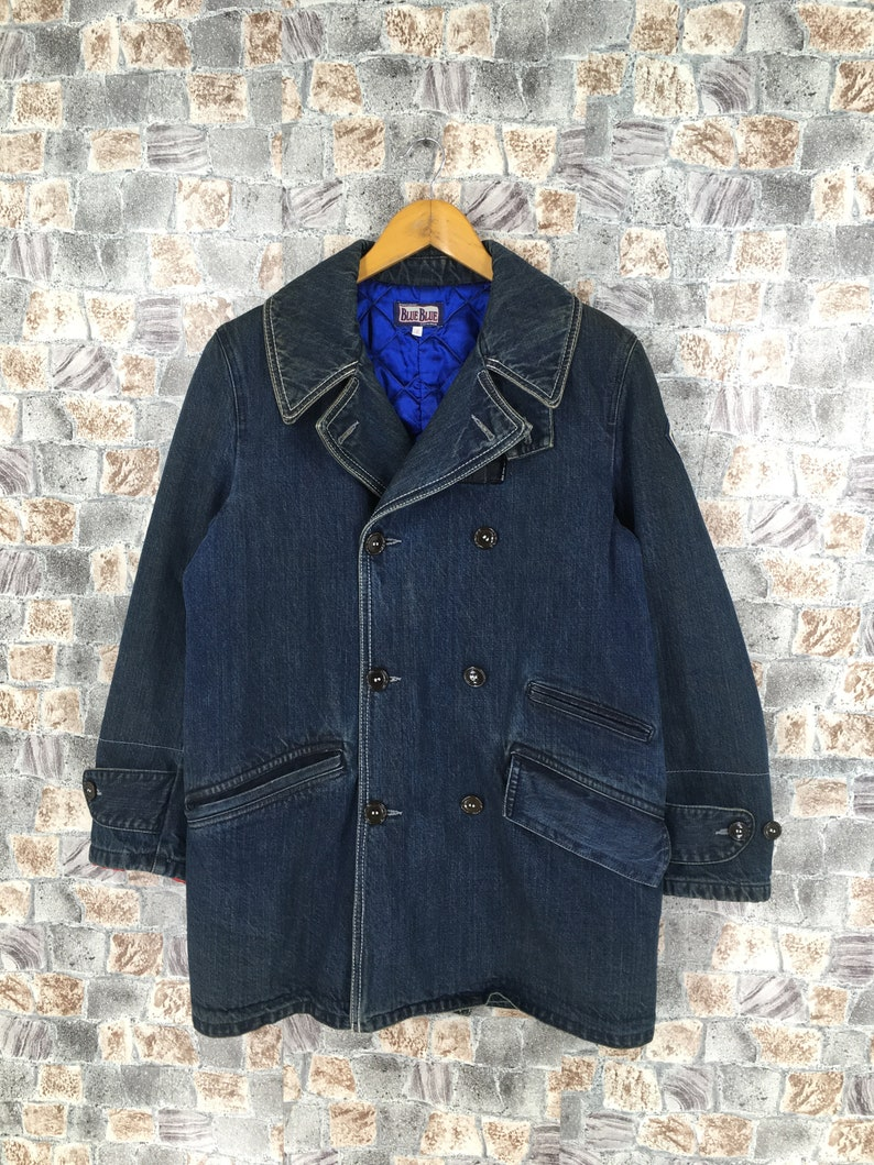 Vintage Blue Blue Japan Usn Navy Shawl Collar Denim Worker Jeans Jacket Quilted Winter Size Medium