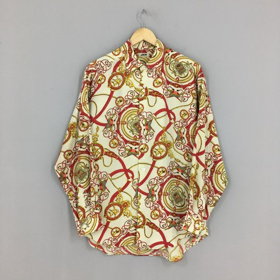 Vintage 1990/'s Novelty Baroque Polyester Shirt Medium Pop Art Baroque Gold Chain Luxury Style Red Soft Polyester Oxfords Buttondown Size M