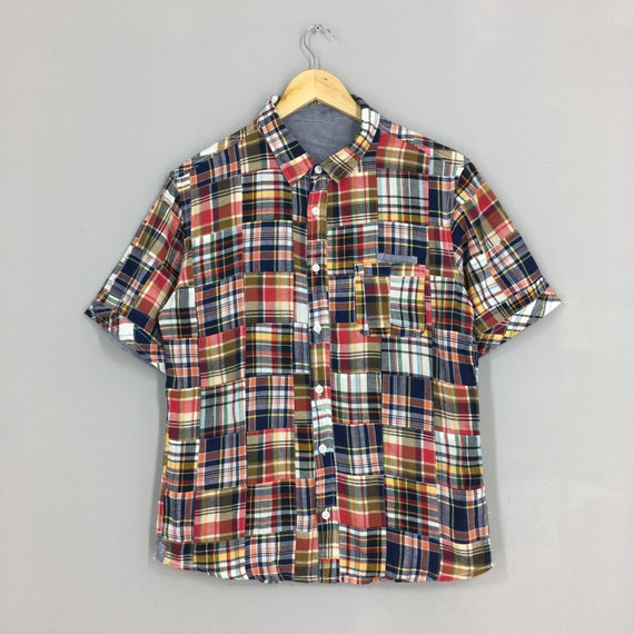 Vintage Patchwork Checkered Flannel Shirt Large Pa
