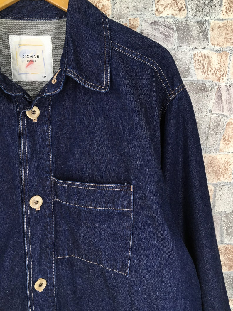 Vintage 1980/'s Denim Jeans Jacket XLarge Mens American Workwear Union Made Blue Chore  Button Jeans Jacket Frenchwork XL