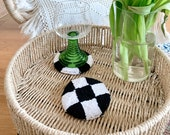 Checkered Coasters | Set of 2 | Punch Needle Embroidery Home Decor | Trinket Dish | Mug Rug | 90s 00s Interior | Y2K Kitchen & Dining