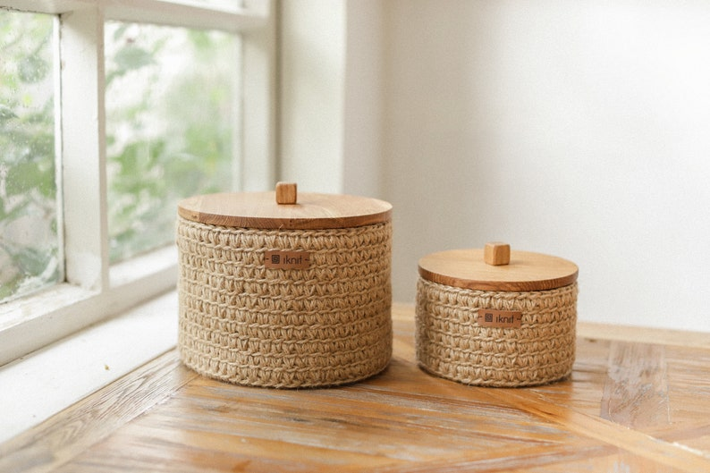 Storage Baskets with Wooden Lid. Set of Two Baskets for image 0