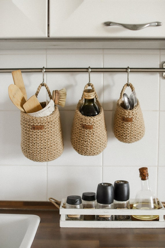 Hanging Wall Baskets Storage Baskets In The Kitchen Etsy