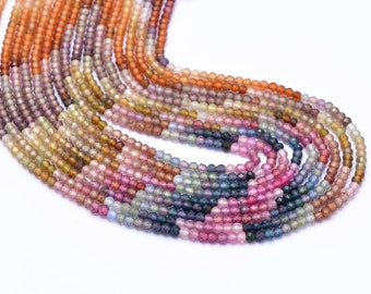 Multi Sapphire Gemstone 3mm Beads ~ Natural Tundra Sapphire Precious Gemstone Loose Micro Faceted Rondelle Beads for Jewelry ~ 13inch Strand