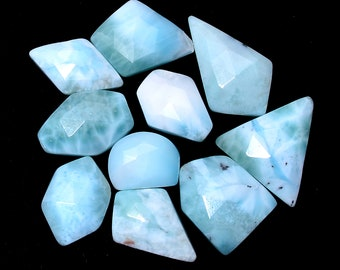 Natural Chalcedony Gemstone Fancy 11mm-20mm Faceted Rosecut Mix Set ~ Blue Chalcedony Semi Precious Gemstone Loose Flat Back Cabochons