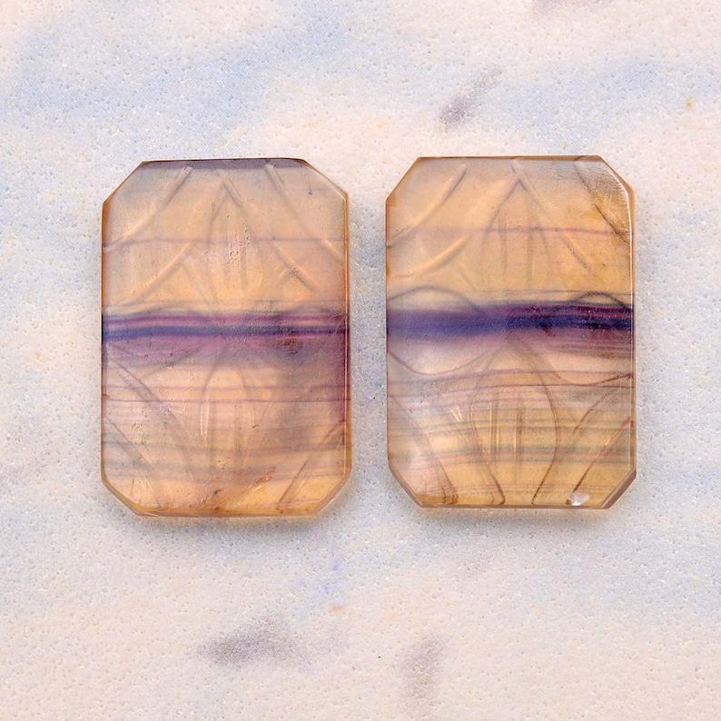 Natural AAA Multi Fluorite Gemstone 18x26mm Fancy Carving Cabochon Pair ~ Rare Multi Fluorite Semi Precious Gemstone Loose Cabochon Set