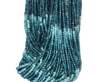 Natural AAA+ Grandidierite Gemstone 2mm-3mm Micro Faceted Rondelle Beads ~ Grandidierite Semi Precious Gemstone Loose Beads ~ 13inch Strand