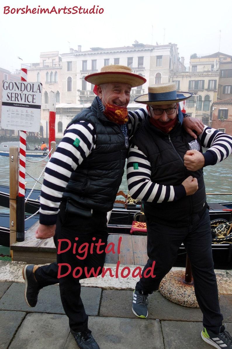 Venice Italy gondoliers photograph Venetian street scene two playful men silly Italy travel photo traveler gift gondola fun  printable art