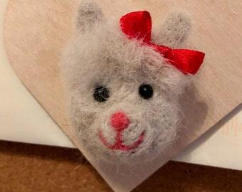 Alpaca on a Wooden Heart