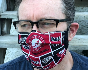 Alabama Crimson Tide Face Mask   Adjustable Ear Loops   Made in the USA   Quick Ship   Machine Washable   Adult and Child Sizes