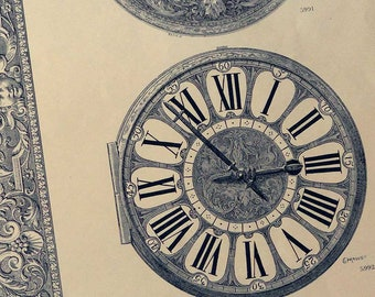 Large Antique French Decorative Print, Watch Case & Dial 1800's