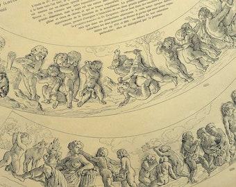 Large Antique French Decorative Print, Sevres Dish Decoration 1800s