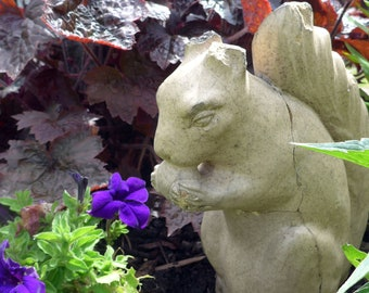 Vintage Glazed Oversize Squirrel Sculpture, Garden Decor, Garden Gift