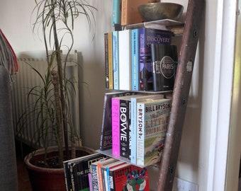 Small Bookcase, Repurposed Ladder and Aluminium Section, Bookshelves, Ladder Shelf
