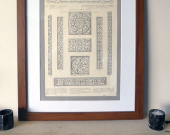"""Original 1877 Decorative Page from """"L'Art Pour Tous"""", with details of Oak Carving from a Reliquary"""