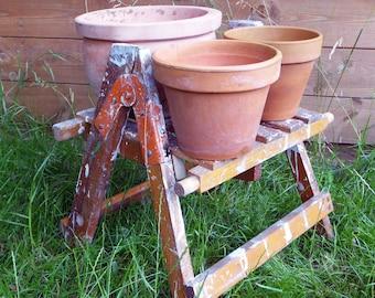 Outdoor Plant Stand Repurposed Decorators Ladder Top, Gift for Gardener