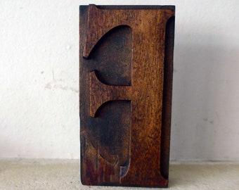 "Wooden Letterpress Printing Block, 127mm Tall, The Letter ""F"""