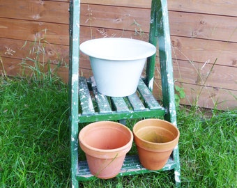 Outdoor Plant Stand Repurposed Ladder Top, Garden Decor, Plant Pot Stand