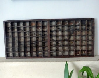 Wooden Letterpress Type Case Printers Tray, Full Size Printers Drawer with 98 Same Sized Compartments