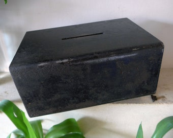 Vintage Metal Church Collections Donation Box, Lockable with Key