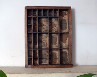 Part Letterpress Type Font Tray, Cut Down from Full Size Drawer, 24 Compartments, 372mm x 287mm, Shadowbox