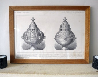 Original 1880's Print, with details of Two 13th Century Censers