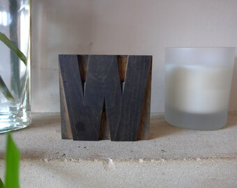 """Wooden Letterpress Printing Block, 85mm / 3 5/16"""" Tall, The Letter """"W"""" or """"M"""""""